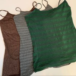 Bundle of three sparkly express tank tops